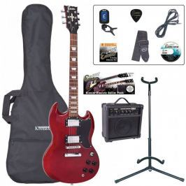 Encore EBP-E69CR Electric Guitar Outfit Cherry Red