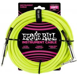 Ernie Ball 25' Braided Straight / Angle Instrument Cable Neon Yellow